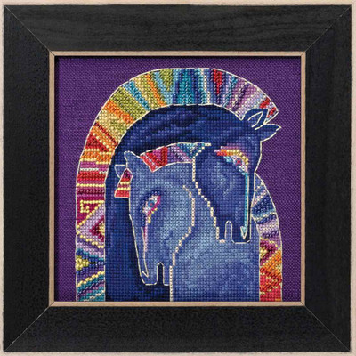 Embracing Horses Cross Stitch Kit (Linen) Mill Hill 2017 Laurel Burch Horses LB301713