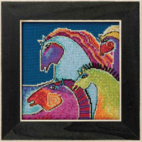 Wild Horses Cross Stitch Kit (Linen) Mill Hill 2017 Laurel Burch Horses LB301715