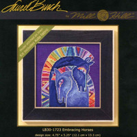 Package insert for Embracing Horses Cross Stitch Kit (Aida) Mill Hill 2017 Laurel Burch Horses LB301723
