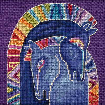 Stitched area of Embracing Horses Cross Stitch Kit (Aida) Mill Hill 2017 Laurel Burch Horses LB301723