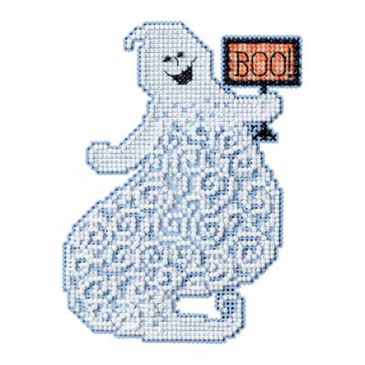 Eerie Ghost Beaded Halloween Cross Stitch Kit Mill Hill 2017 Ghost Trilogy MH191721