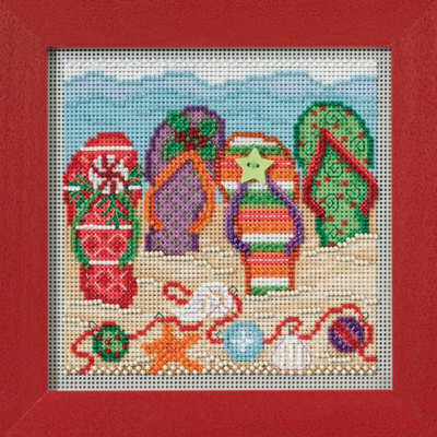 Holiday Flip Flops Cross Stitch Kit Mill Hill 2017 Buttons Beads Winter MH141735