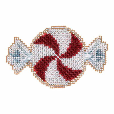 Peppermint Candy Cross Stitch Ornament Kit Mill Hill 2017 Winter Holiday MH181732