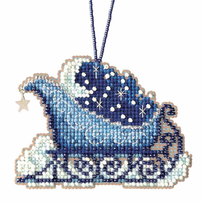 Mill Hill Vintage Sleigh Beaded Cross Stitch Kit Charmed Ornaments 2017 Sleigh Ride MH161732