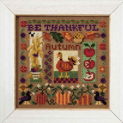 Be Thankful Cross Stitch Kit Mill Hill 2007 Buttons & Beads Autumn