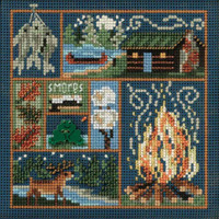 Stitched area of Cabin Fever Cross Stitch Kit Mill Hill 2010 Buttons & Beads Autumn