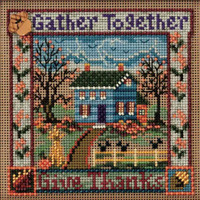 Stitched area of Gather Together Cross Stitch Kit Mill Hill 2010 Buttons & Beads Autumn