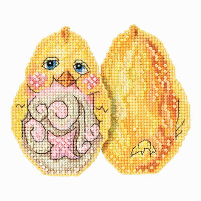 Yellow Chick Counted Cross Stitch Easter Kit Mill Hill 2017 Jim Shore JS181712