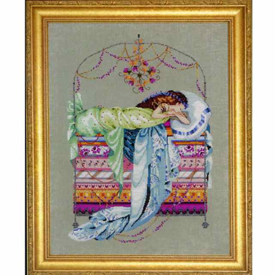 Sleeping Princess Kit Cross Stitch Chart Fabric Beads Braid Nora Corbett Mirabilia Designs MD123