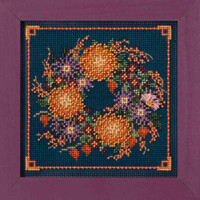 Mum Wreath Cross Stitch Kit Mill Hill 2018 Buttons & Beads Autumn MH141824
