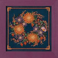Mum Wreath Cross Stitch Kit Mill Hill 2018 Buttons & Beads Autumn MH141824