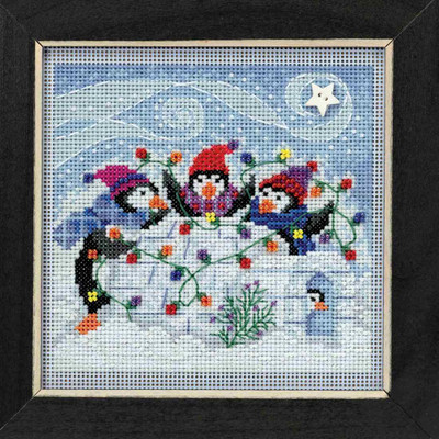 Playful Penguins Cross Stitch Kit Mill Hill 2018 Buttons Beads Winter MH141832