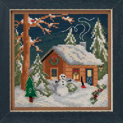 Christmas Cabin Cross Stitch Kit Mill Hill 2018 Buttons Beads Winter MH141834