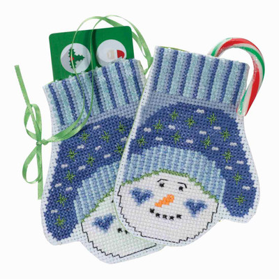 Snowman Mittens Beaded Cross Stitch Ornament Kit Mill Hill 2018 Mittens Trilogy MH191831