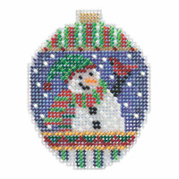 Snowman Greetings Beaded Cross Stitch Ornament Kit Mill Hill 2018 Beaded Holiday MH211811