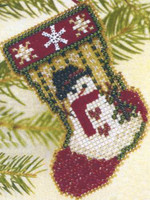 Snowman Stocking Bead Ornament Kit Mill Hill 1997 Charmed Stockings