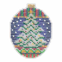 Icy Evergreen Beaded Cross Stitch Ornament Kit Mill Hill 2018 Beaded Holiday MH211813