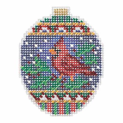 Crimson Cardinal Beaded Cross Stitch Ornament Kit Mill Hill 2018 Beaded Holiday MH211816