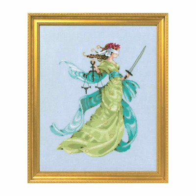 Lady Justice Kit Cross Stitch Chart Beads Braid Nora Corbett Mirabilia Designs MD160