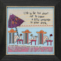 Life's Too Short Beaded Cross Stitch Kit Curly Girl 2018 Mill Hill CG301813