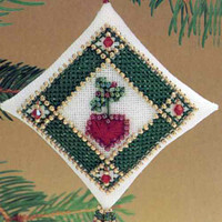 Ruby Heart Tiny Treasured Diamond Beaded Ornament Kit Mill Hill 1997