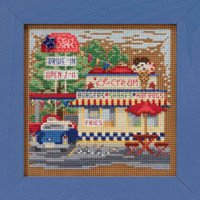 Drive-In Cross Stitch Kit Mill Hill 2019 Buttons & Beads Spring MH141911