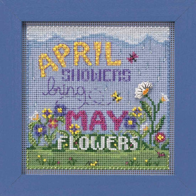 April Showers Cross Stitch Kit Mill Hill 2019 Buttons & Beads Spring MH141913