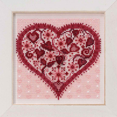 Valentine Heart Cross Stitch Kit Mill Hill 2019 Buttons & Beads Spring MH141912
