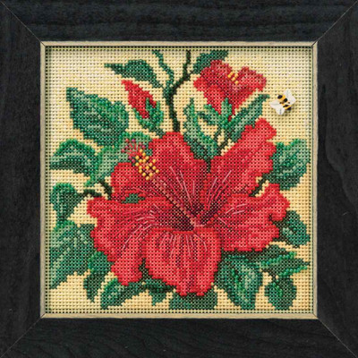Hibiscus Cross Stitch Kit Mill Hill 2019 Buttons & Beads Spring MH141915