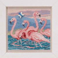 Flamingos Cross Stitch Kit Mill Hill 2019 Buttons & Beads Spring MH141916