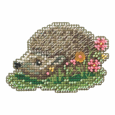 Hedgehog Beaded Cross Stitch Kit Mill Hill 2019 Spring Bouquet MH181913