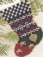 Patchwork Stars Stocking Beaded Kit Mill Hill 1997 Charmed Stockings