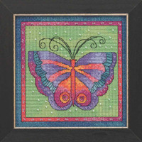 Butterfly Lime Cross Stitch Kit Mill Hill 2019 Laurel Burch Flying Colors LB141912