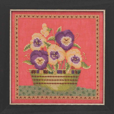 Pansies Beaded Cross Stitch Kit Mill Hill 2019 Debbie Mumm DM301911 Blooms Blossoms