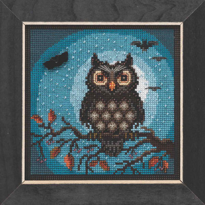 Midnight Owl Cross Stitch Kit Mill Hill 2019 Buttons & Beads Autumn MH141922