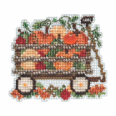 Harvest Wagon Beaded Cross Stitch Kit Mill Hill 2019 Autumn Harvest MH181924