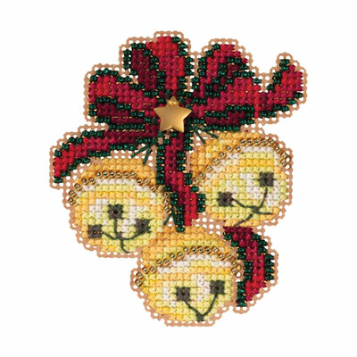 Jingle Bell Trio Cross Stitch Ornament Kit Mill Hill 2019 Winter Holiday MH181933