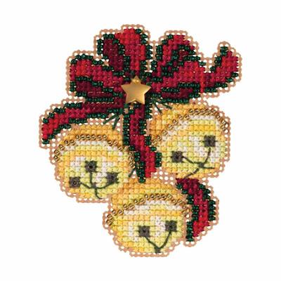 Jingle Bell Trio Cross Stitch Ornament Kit Mill Hill 2019 Winter Holiday MH181933