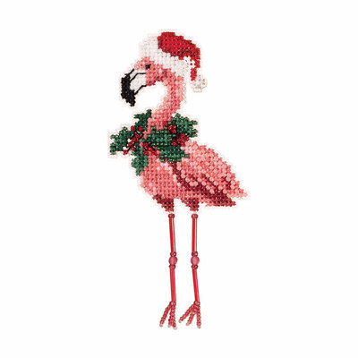 Holiday Flamingo Cross Stitch Ornament Kit Mill Hill 2019 Winter Holiday MH181935