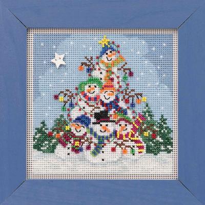 Snowman Pile Cross Stitch Kit Mill Hill 2019 Buttons Beads Winter MH141932
