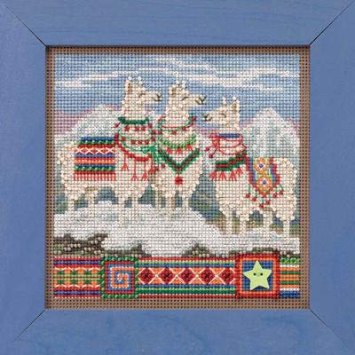 Fa La La Llamas Cross Stitch Kit Mill Hill 2019 Buttons Beads Winter MH141935