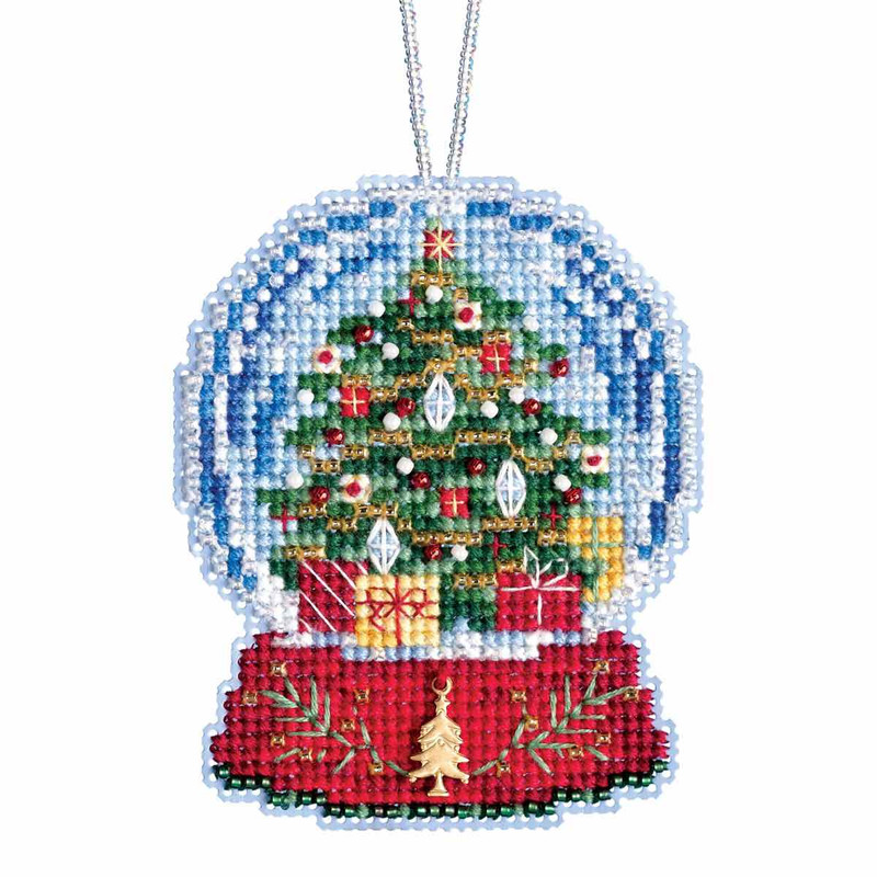 Christmas Tree Snow.Christmas Tree Snow Globe Beaded Counted Cross Stitch Kit Mill Hill 2019 Ornaments Mh161936