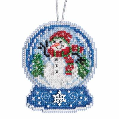 Snowman Snow Globe Beaded Counted Cross Stitch Kit Mill Hill 2019 Ornament MH161933