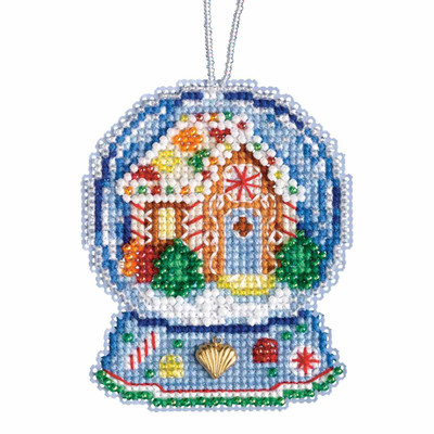 Gingerbread House Snow Globe Beaded Counted Cross Stitch Kit Mill Hill 2019 Ornament MH161932