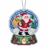 Santa Claus Snow Globe Beaded Counted Cross Stitch Kit Mill Hill 2019 Ornament MH161931