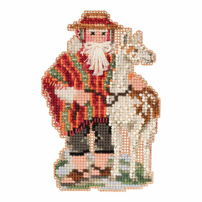 Andes Santa Cross Stitch Ornament Kit Mill Hill 2019 South American Santas MH201932
