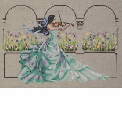 Stitched area of Garden Prelude Kit Cross Stitch Chart Beads Braid Silk Floss MD165 Mirabilia Nora Corbett