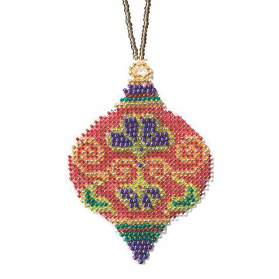 Crimson Cloisonne Beaded Cross Stitch Ornament Kit Mill Hill 2019 Beaded Holiday MH211916
