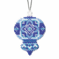 Azure Medallion Beaded Cross Stitch Ornament Kit Mill Hill 2019 Beaded Holiday MH211912