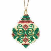 Emerald Flourish Beaded Cross Stitch Ornament Kit Mill Hill 2019 Beaded Holiday MH211911
